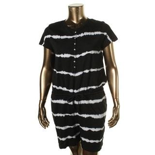 American Living Womens Tie-Dye Short Sleeves Romper