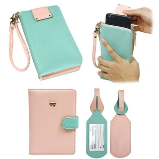 JAVOedge Two Tone Universal Pullout Phone Wallet for Smarphones with Matching Passport  (Light Pink/Mint) - light pink/mint