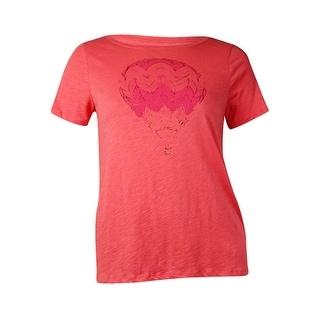 Tommy Hilfiger Women's Hot Air Balloon Graphic T-Shirt (L, Tea Rose) - l