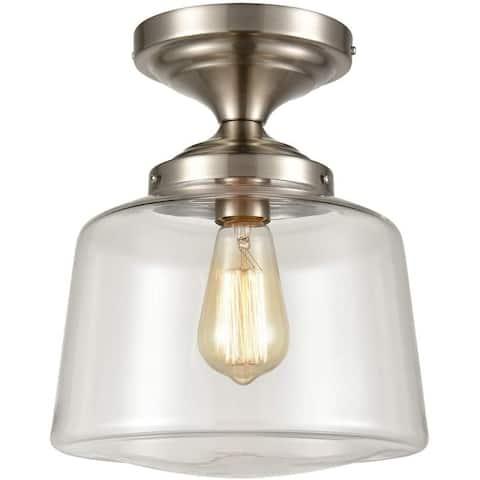 Rieti Modern Semi Flush Ceiling Light, Schoolhouse Clear Glass - Brushed Nickel