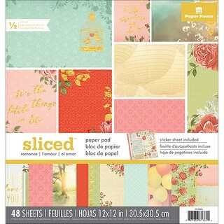 """Paper House Double-Sided Paper Pad 12""""X12"""" 48/Pkg-Sliced Love/Romance"""