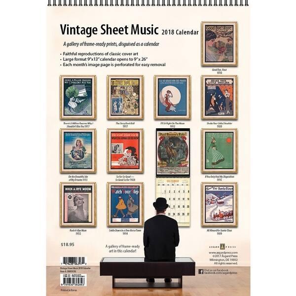Sheet Music Vintage Poster Wall Calendar, Standards, Opera & Musicals by  Asgard