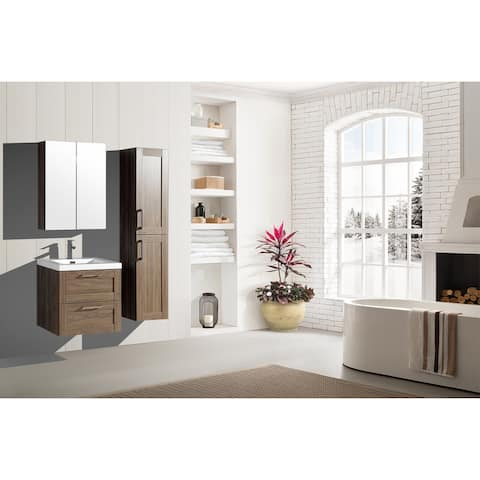 The Cosmo Elm Collection 24 Inch Floating Modern Bathroom Vanity