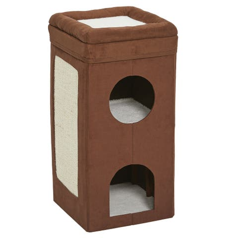 "Midwest Curious Cat Cube Condo Brown Suede 14.60"" x 14.72"" x 30.39"" - Brown Suede - 14.60"" x 14.72"" x 30.39"""