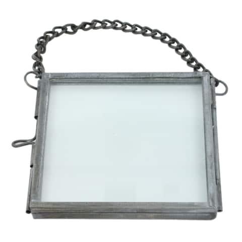 Rectangular Metal Ornament Frame with Chain Hanger, Gray