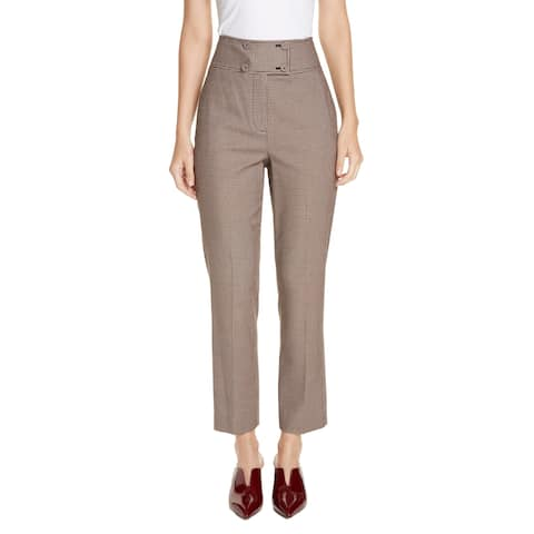 Rebecca Taylor Women's Dress Pants Brown Size 2 Stretch Houndstooth