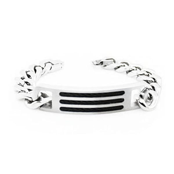 Men's Stainless Steel Curb Chain ID Bracelet - 8.5 inches