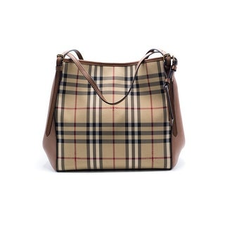 Burberry Womens Small Canter Horseferry Check Leather Hobo Tote Bag - Beige