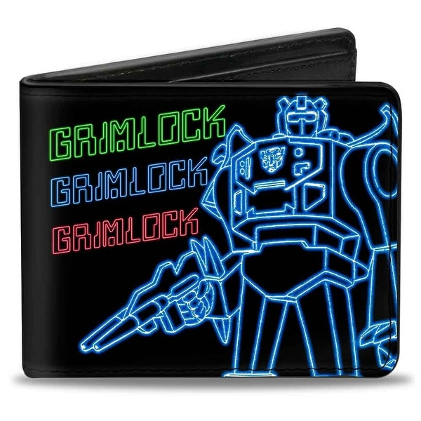 Electric Grimlock Pose + Autobot Logo Black Green Blue Red Bi Fold Wallet - One Size Fits most