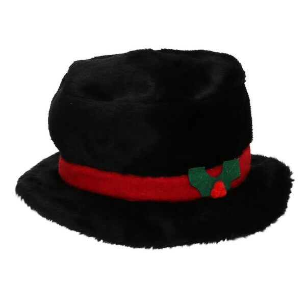 """9"""" Black Plush Snowman Christmas Hat with Trim and Holly Berries"""