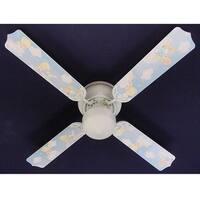 Precious Moments Print Blades 42in Nursery Ceiling Fan Light Kit - Multi