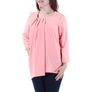 ALFANI Womens Coral 3/4 Sleeve Jewel Neck Top  Size 4