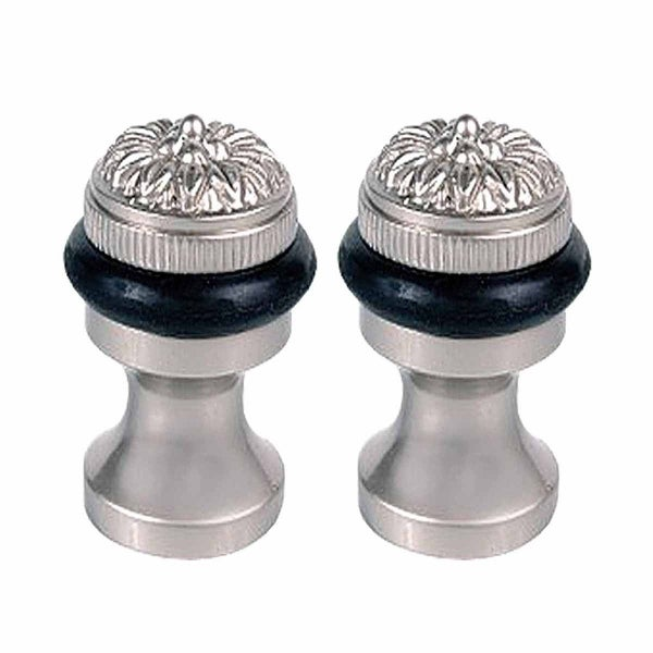 2 Brass Door Stop Floor Mount Bumper Satin Flower