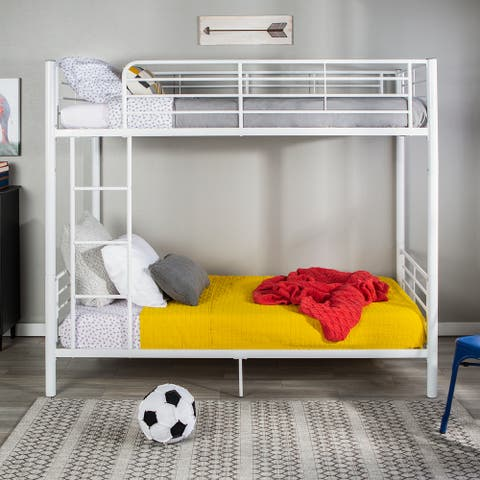 Taylor & Olive Abner White Metal Twin Bunk Bed