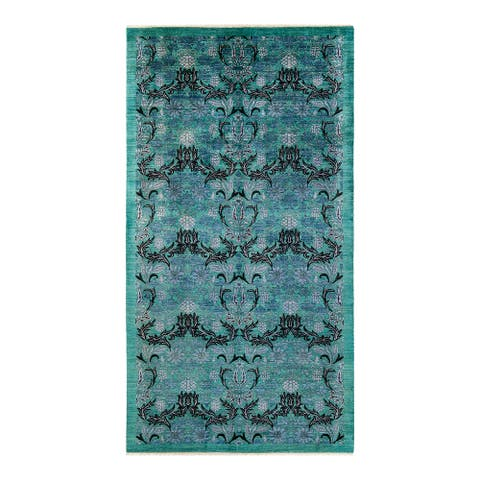 """Arts & Crafts, One-of-a-Kind Hand-Knotted Area Rug - Green, 6' 2"""" x 11' 8"""" - 6' 2"""" x 11' 8"""""""