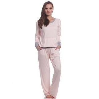 Rene Rofe Women's Comfy Cozy Pink Pajama Set
