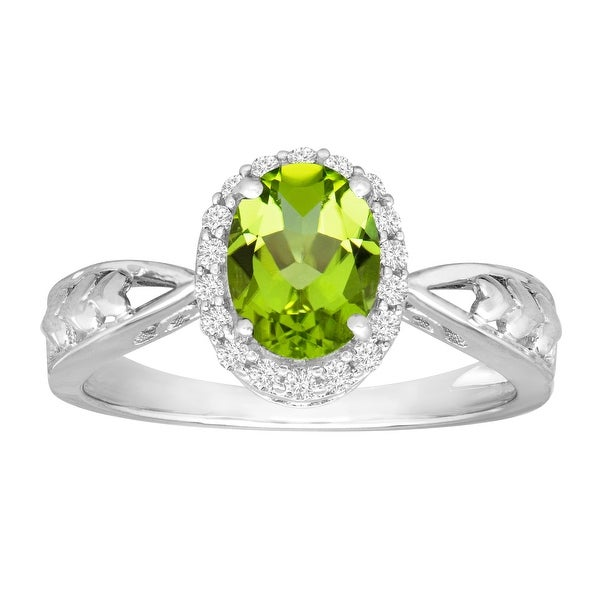 1 1/3 ct Natural Peridot & Natural White Topaz Ring in 10K White Gold - Green