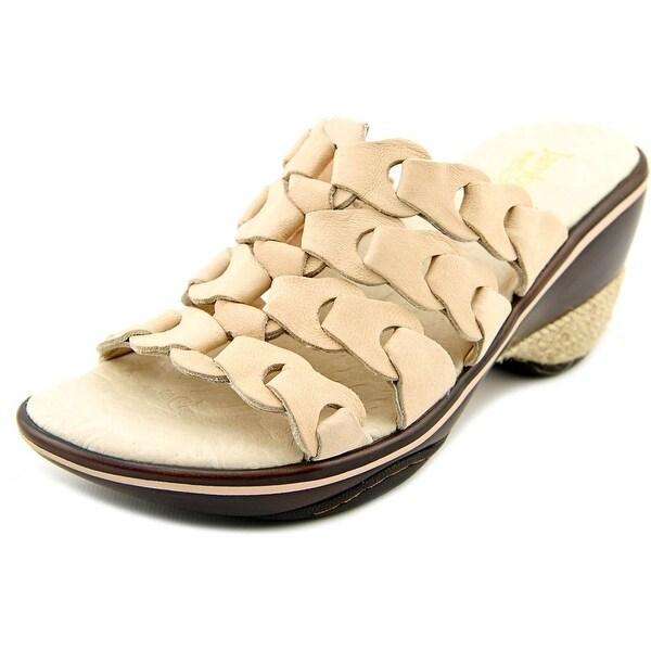 Jambu Romance Women Open Toe Leather Nude Slides Sandal