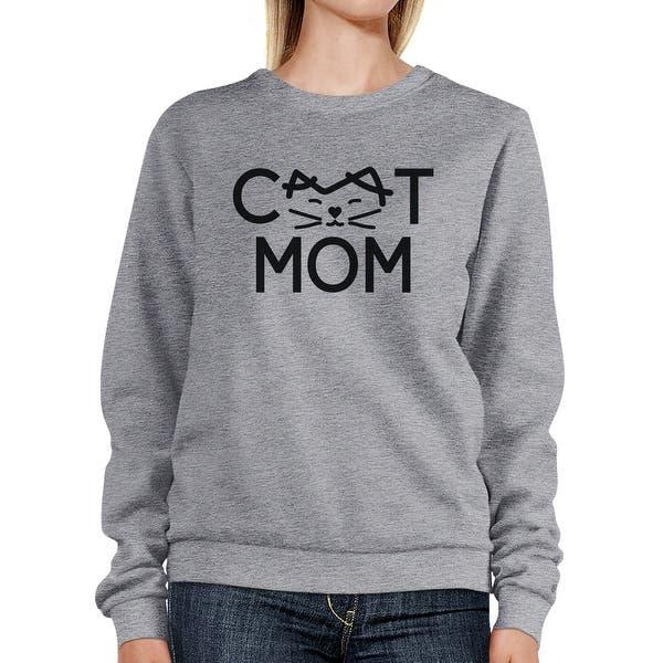 Shop Cat Mom Grey Unisex Sweatshirt Fleece Cute Gift Ideas