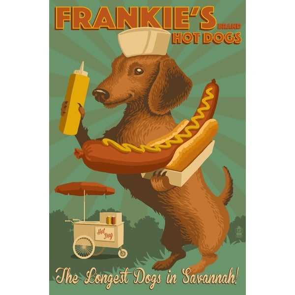 Savannah GA Dachshund Retro Hotdog Ad LP Artwork (Cotton/Polyester Chef's Apron)