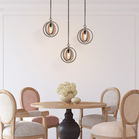 "Farmhouse 1-light Globe Island Rustic Wood Pendant Lights for Kitchen Islands - W 12""x H 14"""