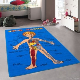 "Allstar Kids / Baby Room Area Rug. Human Anatomy: Learn All About the Human Body. Blue Color (4' 11"" x 6' 11"")"