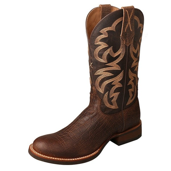 Twisted X Western Boots Mens Silver Buckle Rancher Crazy Horse