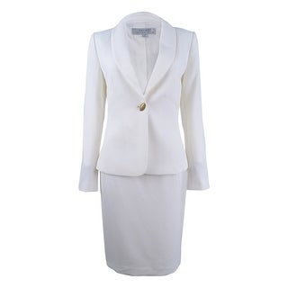 Tahari ASL Women's One-Button Skirt Suit - Ivory White