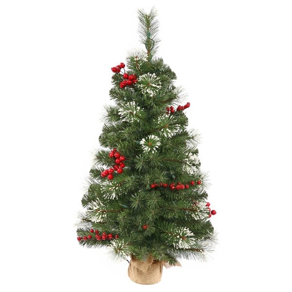 2.5' Siegal Berry Pine Artificial Christmas Tree with Burlap Base - Unlit - green