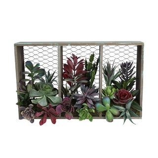 """10"""" Artificial Mixed Succulent Arrangement in Wood Box and Chicken Wire Wall Decor - N/A"""