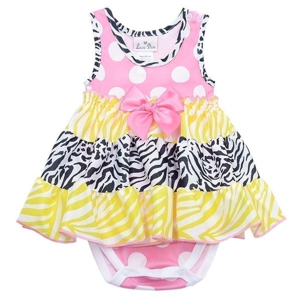 Laura Dare Baby Girls Pink Yellow Dot Zebra Print Snap Bodysuit Nightgown 3-9M