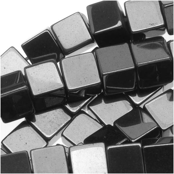 Hematite 3.5mm Square Cube Beads Metallic Gray/ 15 Inch