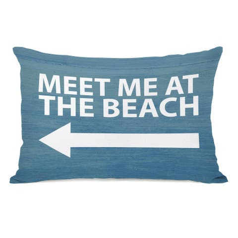 Meet Me At The Beach Wood - Blue White 14x20 Pillow by OBC