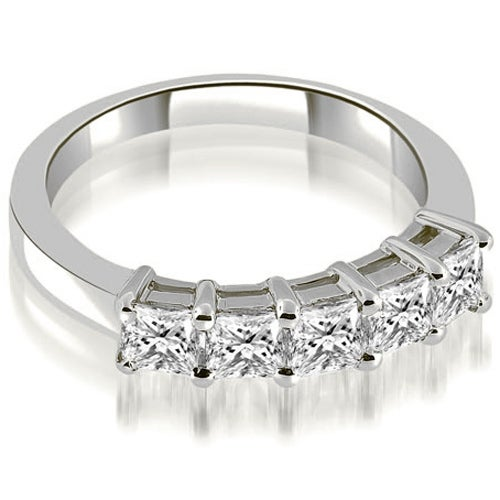 0.85 cttw. 14K White Gold Prong Set Princess Cut Diamond Wedding Band