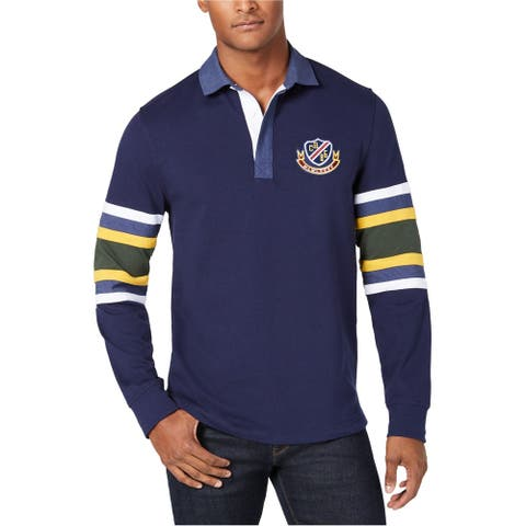Club Room Mens Colorblock Rugby Polo Shirt, Blue, Small