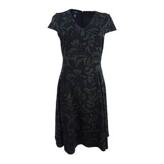 Alfani Women's Printed Fit & Flare Dress - black moss botani