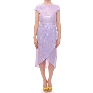 Licia Florio Purple Cap Sleeve Below Knee Sheath Dress