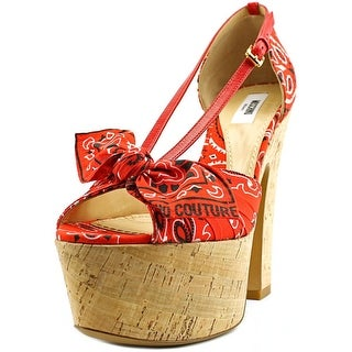 Moschino Bandana Open Toe Canvas Platform Heel
