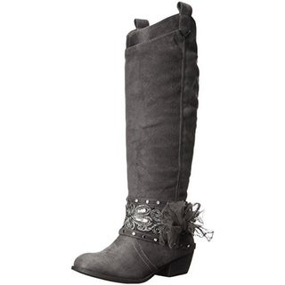 Not Rated Womens Moonshine Knee-High Boots Faux Suede Belted