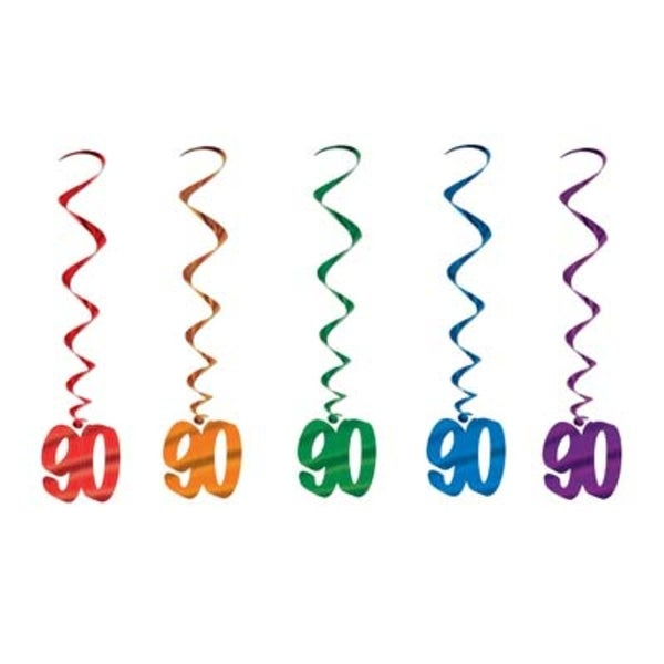 Pack Of 30 Assorted Color 90th Birthday Metallic Spiral Hanging Party Decoration Whirls 36