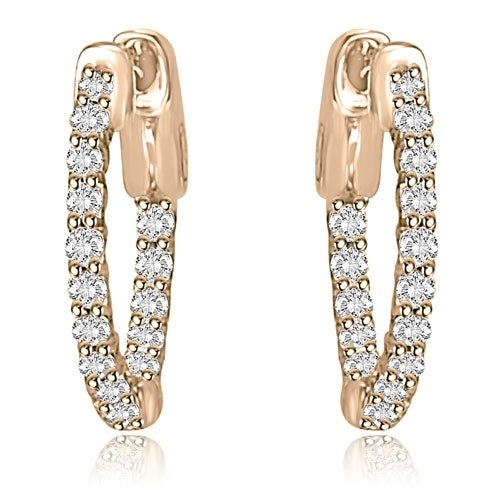 1.00 cttw. 14K Rose Gold Round Cut Diamond Hoop Earrings - White H-I