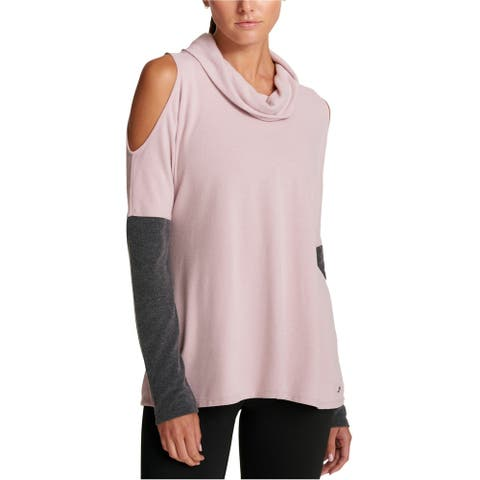 DKNY Womens Cold Shoulder Basic T-Shirt, Pink, X-Small