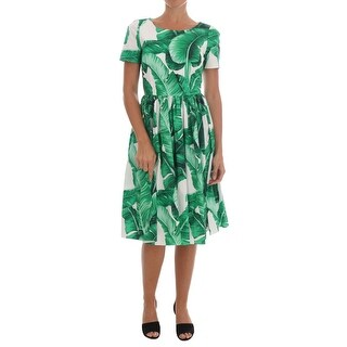 Dolce & Gabbana Banana Leaf Cotton A-Line Shift Dress