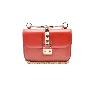 Valentino Womens Red Lock Small Chain Leather Shoulder Bag