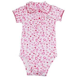 XOXO Baby Girls Light Pink Leopard Print Peterpan Collar Bodysuit Creeper - 12 months