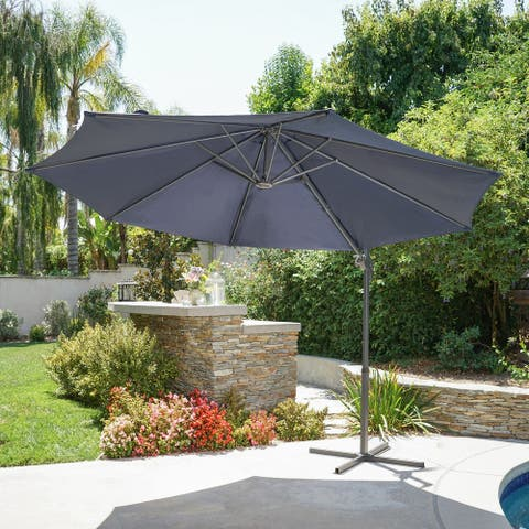 Piazza 9.7 Ft. Outdoor Modern Banana Sun Canopy by Christopher Knight Home, Base Included