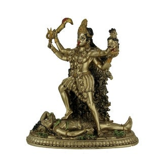 Hindu Goddess Kali Standing On Lord Shiva Statue - 10.5 X 10 X 4.75 inches