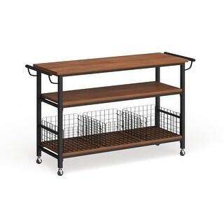 Carbon Loft Leslie Metal Frame Rustic Kitchen Cart with Wood Tabletops and Shelves