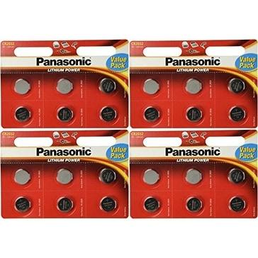 24 Panasonic CR2032 Batteries Lithium cr-2032 3V Coin Cell 4 Packs of 6 Batteries