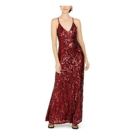 NIGHTWAY Womens Red Sleeveless Maxi Sheath Evening Dress Size 8